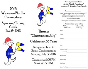 2016 Wawasee Flotilla flyer back Christmas in July