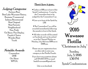 2016 Wawasee Flotilla flyer front Christmas in July